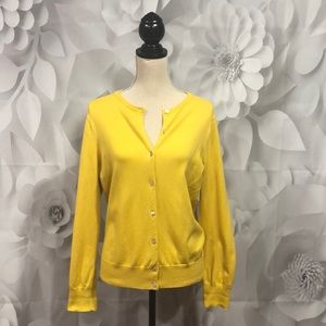Lands' End Yellow Long Sleeve Button Cardigan M